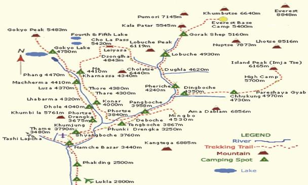 EBC聖母峰基地營路線圖