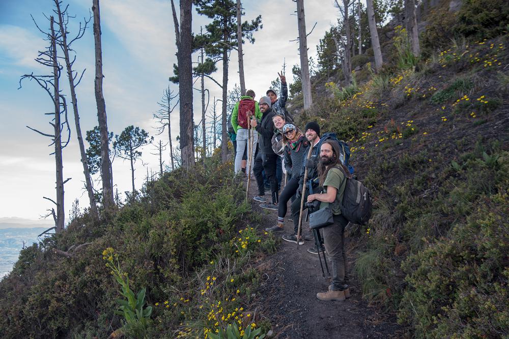 在瓜立馬拉火山上碰到各地山友