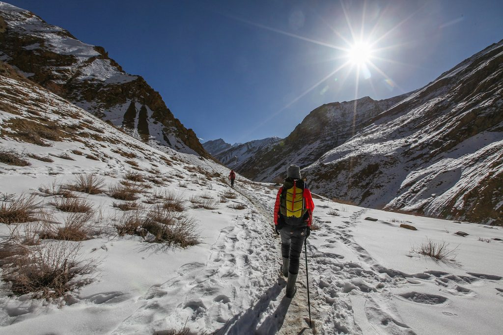 walking towards the sun on Chadar Trek